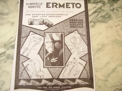 ANCIENNE PUBLICITE MONTRE ERMETO DE MOVADO L ART MODERNE  1928 - Bijoux & Horlogerie