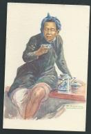 Buveur De Thé - Illustration Signée A Joyeux - Odh03 - Vietnam
