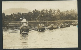 Cpa Photo - Expedition Traversant Une Rivier à Dos D'Eléphant - Datée En 1928   Odh15 - Vietnam