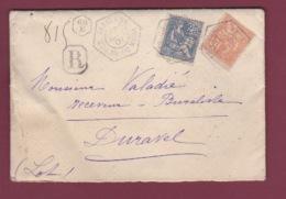 FRANCE- 180717 - Recette Auxilliaire PARIS 69 E Avenue Du Maine Sur Lettre Recommandée Affranchie 15 C Et 25 C Mouchon - Marcophilie (Lettres)