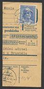 Czechoslovakia, 10 K. 1945, Sc # 287, Used, On Piece, Pteni - Czechoslovakia