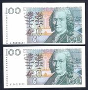Sweden - 100 Kronor 1986 X 2 Pcs - P57a - One Has ERROR Cutting/printing - Sweden