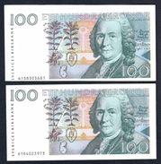 Sweden - 100 Kronor 1986 X 2 Pcs - P57a - One Has ERROR Cutting/printing - Suède