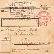 Paketkarte De Straßburg 2 Obl TàD STRASSBURG (ELS) 2 A BEZAHLT Du 9.4.41 Adressée à Wangen - Lettres & Documents