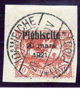 UPPER SILESIA 1921 Plebiscite Overprint On 10 Pfg. Used.  Michel 30 - Germany
