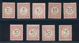 Nederlands Indië - 1892 - Port Cijferserie NVPH P14-22 - Compleet MH - India Holandeses