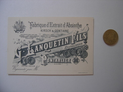 Carte Visite LANQUETIN KIRSCH GENTIANE ABSINTHE Pontarlier 25 Doubs - Etiquettes