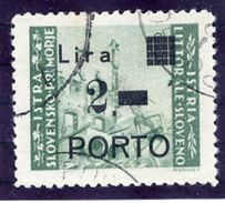 YUGOSLAVIA (ISTRIA) 1946 (Sept.) Postage Due 2 L. Surcharge On 0.25 L. With Curved Foot, Used.  Michel Porto 15 I B - Postage Due