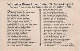AK Wilhelm Busch Auf Schneekoppe Snezka Sniezka 1882 Spruch Vers Text Gedicht Fremdenbuch Koppenwirt Heinrich Pohl - Sudeten