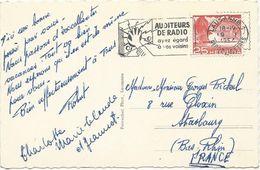 CARTE POSTALE 1954 AVEC OBLITERATION MECANIQUE AUDITEURS DE RADIO AYEZ EGARD A VOS VOISINS - Telekom