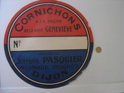 ANCIENNE Enseigne Etiquette Vierge Boite CORNICHONS PASQUIER TRUCHOT DIJON - Signs