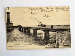 C.P.A. 64 BAYONNE : La Barre De L'Adour, Animé, Bateau, En 1908 - Bayonne