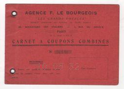 1932 - CARNET A COUPONS COMBINES TRAIN NAVIGATION AVIATION AUTOMOBILE - AGENCE F LE BOURGEOIS LES GRANDS VOYAGES - PARIS - Titres De Transport