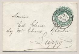Egypte - 1889 - 2 Mills Envelope - From Alexandrie To Leipzig / Deutschland - 1866-1914 Khedivaat Egypte