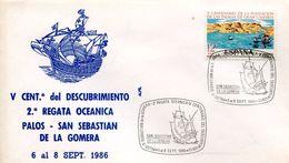 23671 Spain, Special Postmark 1986 San Sebastian De La Gomera ,  Columbus , Coulomb, Colon, - Christopher Columbus