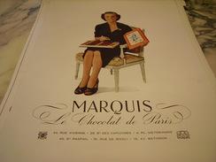 ANCIENNE PUBLICITE CHOCOLAT DE PARIS MARQUIS 1947 - Posters