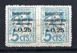 Pareja De Viñetas  Nº 46   Subsidio  Pro Combatientes.con Sobrecarga Calvo Sotelo   La Coruña. - Vignettes De La Guerre Civile