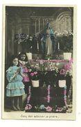 """Deux Petites Filles Qui Prient Devant Une Statue De La Vierge,fleurs. EDL """"Sans Voir Exaucer Sa Prière"""". 1907 - Vierge Marie & Madones"""