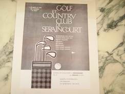 ANCIENNE PUBLICITE GOLF CLUB DE SERAINCOURT - Golf