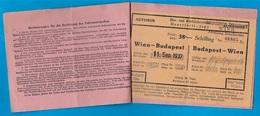 Billet Ticket Titre De Transport AUTOBUS 1937 WIEN-BUDAPEST - Titres De Transport