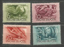 HUNGRIA CORREO AEREO YVERT NUM. 47A/47D * SERIE COMPLETA CON FIJASELLOS - Airmail