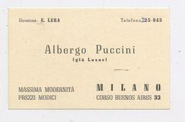 ALBERGO PUCCINI - MILANO (voir Scan) - Cartes De Visite
