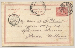 Egypte - 1898 - 5 Mills Carte Postale - From Port Said To Breda / Nederland - Egypte