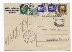 STORIA POSTALE R.S.I. - INTERO POSTALE ESPRESSO DA MILANO 30.09 1943 PER SALVATERRA (RE) AFFRANCATURA  TRICOLORE - 4. 1944-45 Repubblica Sociale