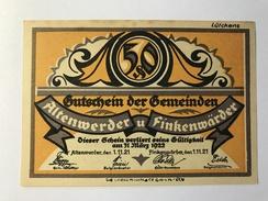 Allemagne Notgeld Altenwerder 50 Pfennig - [ 3] 1918-1933 : République De Weimar