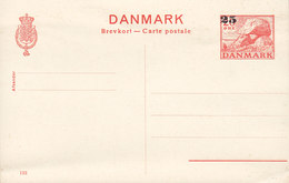 Denmark Postal Stationery Ganzsache Entier (133) 20/25 ØGravhøj Tomb Overprinted Unused - Postwaardestukken
