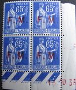 "LOT DF/151 - FM TYPE PAIX - COIN DATE 1936 "" ERREUR "" N°6 - BLOC NEUF - Ecken (Datum)"