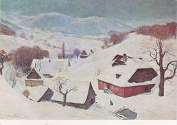 Künstlerkarte AK Altvaterland Im Winter 1956 Dorf Altvatergebirge Jesenik Willi Paupie Ostdeutsche Galerie Regensburg - Sudeten