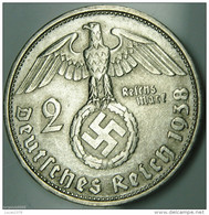 2 Reichsmark Paul Von Hindenburg 1938D - [ 4] 1933-1945 : Troisième Reich