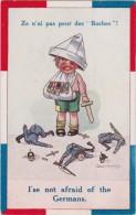 """Bg - Cpa Illustrée Geo Piper """"Ze N'ai Pas Peur Des Boches !"""" """"I'se Not Afraid Of The Germans"""" - Umoristiche"""