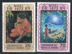 "New Hebrides,French        ""Christmas 1973""      Set    SC# 198-99   MNH** - French Legend"