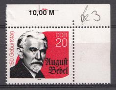 Allemagne DDR 1990  Mi.nr.: 3310 Geburtstag Von August Bebel  Neuf Sans Charniere /MNH / Postfris - [6] République Démocratique