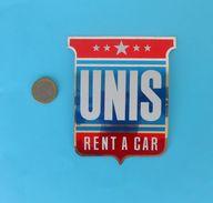 UNIS Rent-a-car ....  Yugoslavia Vintage Sticker Autocollant * Larger Size - Stickers