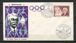 1963  MONACO  FDC 1ER JOUR LE BARON PIERRE DE COUBERTIN - Beroemde Personen