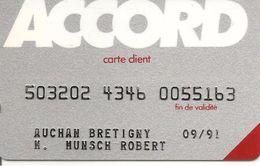 -CARTEç-MAGNETIQUE-FIDELITE CLIENT ACCORD-AUCHAN BRETIGNY-Exp09/91-V° SOLAIC 45060-TBE-RARE - Gift And Loyalty Cards
