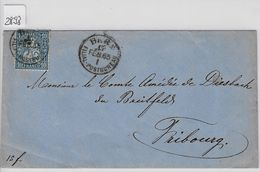 1865 Helvetia Helvtie 31/23 10c Blau - Stempel: Basel To Fribourg 15. Feb. 65 - 1862-1881 Sitzende Helvetia (gezähnt)