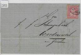 1874 Helvetia Helvtie 38/30 10c Weisses Papier - Stempel: Langenthal To Wädensweil 2.III.74 - Lettres & Documents