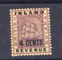 Guyana  -  Fiscaux Postaux  :  Yv  4   *   Bateau - Boat - British Guiana (...-1966)