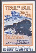 U.S.  LABEL TRAIL  TO  TRAIN  RAIL EXPO.  PAGEANT,  EUGENE,  OREGON  1926 - United States