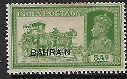 Bahrain, Opt On India, 1941 George VI, 3 Annas ,  MH * - Bahrain (...-1965)