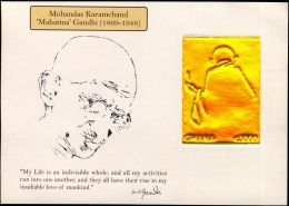 MAHATMA GANDHI-GOLD EMBOSSED-IMPERF SOUVENIR SHEET WILH ILLUISTRATIONS AND AUTOGRAPH-CONGO-SCARCE-MNH-GMS-56 - Mahatma Gandhi