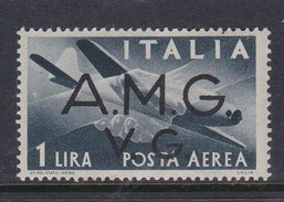 Venezia Giulia And Istria  A.M.G.V.G. Air Mail A 2 1945 Air Post 1 Lira Black Mint Never Hinged - Trieste