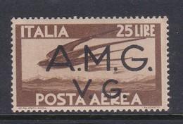 Venezia Giulia And Istria  A.M.G.V.G. Air Mail A 7 1945 Air Post 25 Lira Brown Mint Never Hinged - 7. Trieste