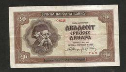SERBIA - NATIONAL BANK - 20 Dinara (Belgrade - 1941) - Serbia