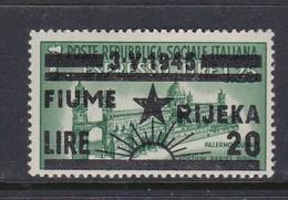 Venezia Giulia And Istria  Fiume Rijeka S 20 1945 20 Lira On 125c Green Mint Hinged - Occ. Yougoslave: Fiume