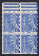FRANCE Francia Frankreich - 1938 - Quartina Di Yvert 407, Nuova MNH Con Margine Di Foglio, 10 Cent, Oltremare. - 1938-42 Mercure